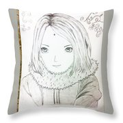 Anime Drawing  Throw Pillow