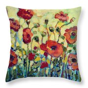 Anitas Poppies Throw Pillow by Jennifer Lommers