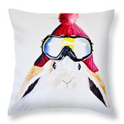Anitas Schneehas Karminrot Throw Pillow