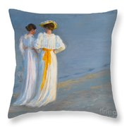 Anna Ancher And Marie Kroyer On The Beach At Skagen Throw Pillow