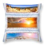 Anna Maria Island Beach Collage Throw Pillow