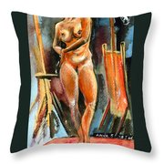 Anna Nude Throw Pillow by Ion vincent DAnu
