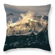 Annapurna Mountain Range In Evening Sunlight Throw Pillow