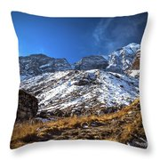 Annapurna Trail With Snow Mountain Background In Nepal Throw Pillow