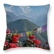 Annapurnas And Prayer Flags Throw Pillow