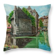 Annecy-the Venice Of France Throw Pillow