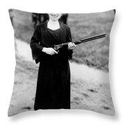 Annie Oakley, American Folk Hero Throw Pillow