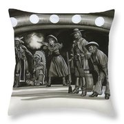 Annie Oakley Demonstrating Her Shooting Prowess Throw Pillow