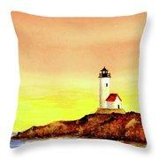 Annisquam Harbor Lighthouse - Summer Scene Throw Pillow