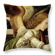 Announcing Angel, Detail From Annunciation Throw Pillow