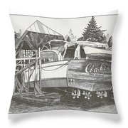 Annual Haul Out Chris Craft Yacht Throw Pillow