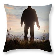 Anonymous Man In Silhouette Holding A Gun Throw Pillow