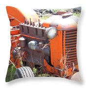 Another Angle Of Old Tractor Throw Pillow