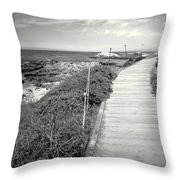 Another Asilomar Beach Boardwalk Black And White Throw Pillow