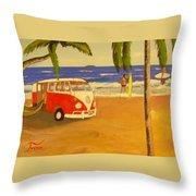 Another Groovy Beach Weekend Throw Pillow