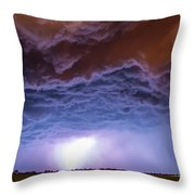 Another Impressive Nebraska Night Thunderstorm 007 Throw Pillow