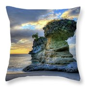 Anse Mamin Rock Formation At Sunset Saint Lucia Caribbean Sunset Throw Pillow