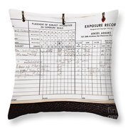 Ansel Adams Photography Exposure Record Log Throw Pillow
