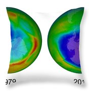 Antarctic Ozone Hole, 1979 And 2015 Throw Pillow