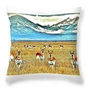 Antelope At Attention Throw Pillow