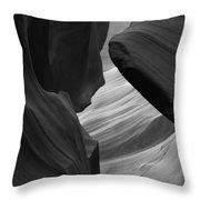 Antelope Canyon Erosions Bw Throw Pillow