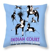 Antelope Hunt From A Navajo Drawing Throw Pillow