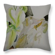 Antelope Skull Pinecones And Lily Throw Pillow