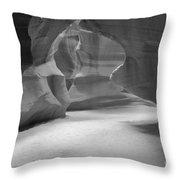 Antelope Slot Canyon Black And White Throw Pillow