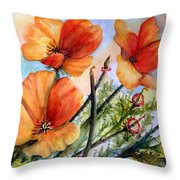 Antelope Valley Poppy Fields Throw Pillow