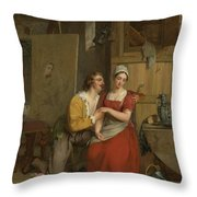 Anthony Van Dyck Wooing His Model, 1827 Throw Pillow