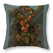 Anthropomorphic Allegory Of Autumn Throw Pillow