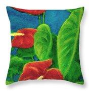 Anthurium Flowers #296 Throw Pillow
