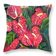 Anthurium Flowers Throw Pillow