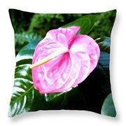 Anthurium Throw Pillow