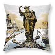 Anti-immigration Cartoon Throw Pillow
