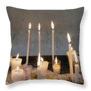 Antigua Church Candles Throw Pillow