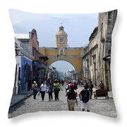 Antigua Street Scene Throw Pillow