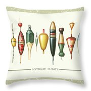 Antique Bobbers Throw Pillow by JQ Licensing