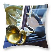 Antique Brass Car Horn Throw Pillow