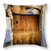 Antique Brown Door Throw Pillow