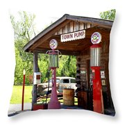 Antique Car And Filling Station 2 Throw Pillow