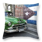 Antique Car And Mural Throw Pillow