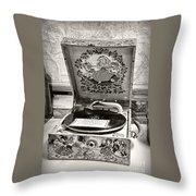 Antique Decca Gramophone By Kaye Menner Throw Pillow