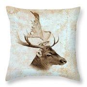 Antique Deer Throw Pillow