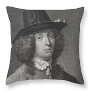 Antique Engraving Of An Elegant Gentleman Throw Pillow