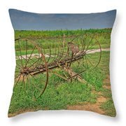 Antique Farm Rake Throw Pillow