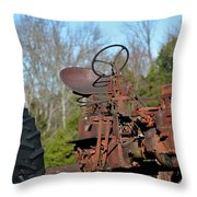 Antique Farmall Tractor 4a Throw Pillow