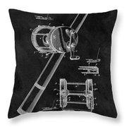 Antique Fishing Reel Patent Throw Pillow