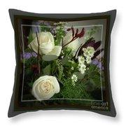 Antique Floral Arrangement Framed Throw Pillow