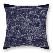 Antique French Pocket Map Of Paris Blueprint Style Throw Pillow